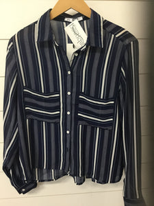 navy/white striped long sleeve button down top