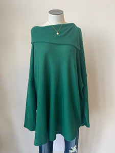 Long Sleeve Cowl Neck Top with Longer Length