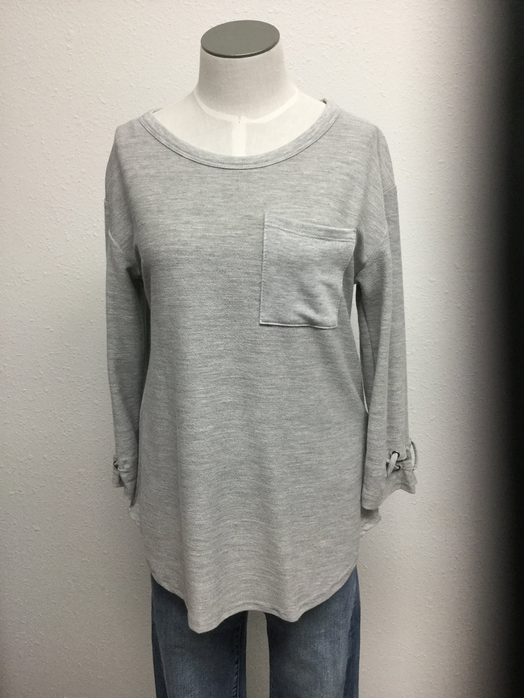 French terry rounded neck 3/4 sleeve w eyelet sleeves & pocket
