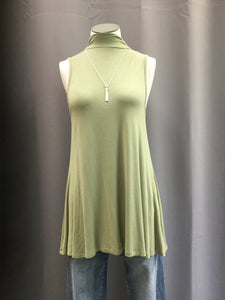 Olive Knit Solid Sleeveless Mock Neck Top