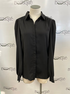 Shirred Button Black Top