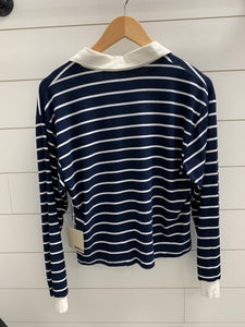 Long Sleeve Striped Off White Collar