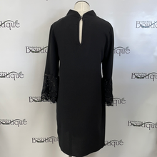 Black high neck key hole dress
