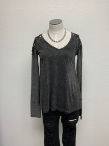 Miss Me V-Neck Lace Accent Top