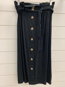 Belted skirt with button detail