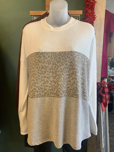 Long Sleeve Crew Neck Mixed Leopard Pattern