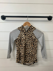 Kids Leopard Print Hoodie with Tie Match Mommy