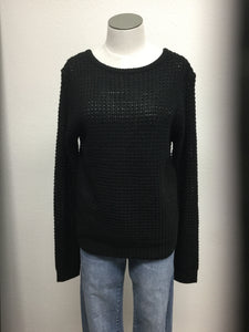 Waffle knit long sleeve caged back sweater