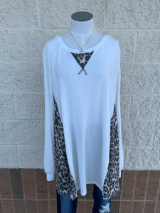 Brushed cashmere tunic with animal print detail