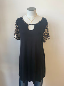 Animal Print Short Sleeve with Accenting Trim
