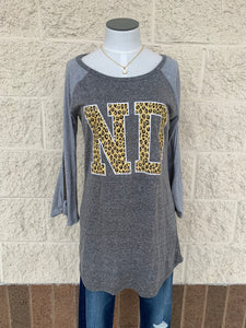 ND Playing for Keeps Leopard Raglan Tee