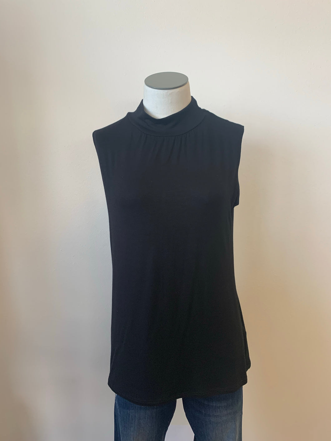 Sleeveless Solid Jersey Mock Neck