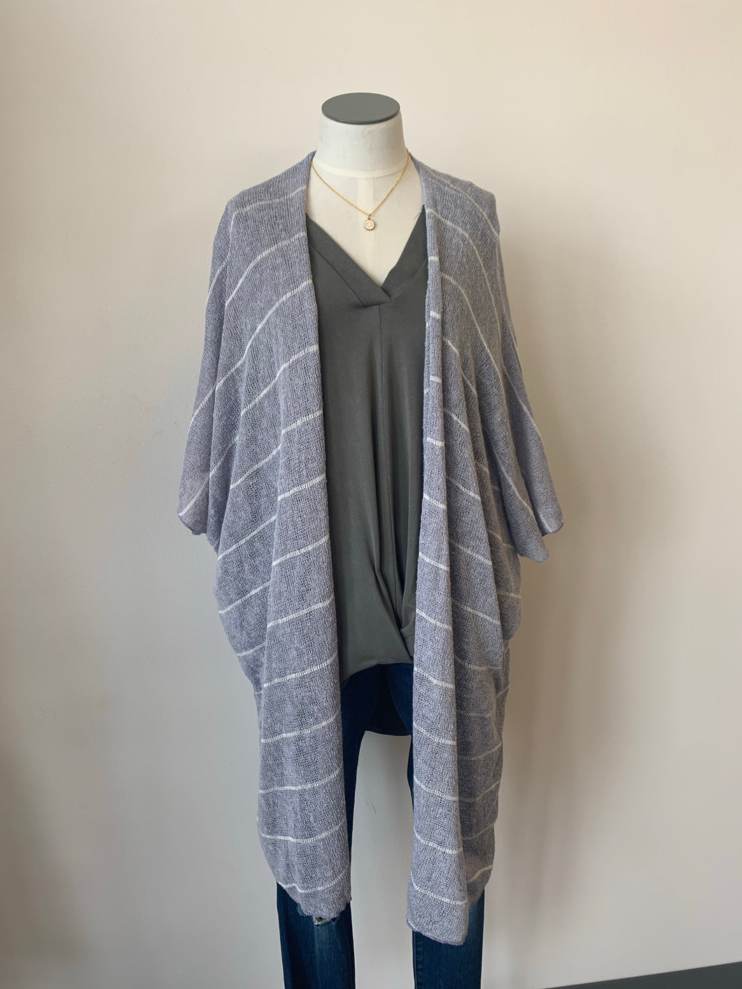 Lavender Sweater Stripe Cardigan