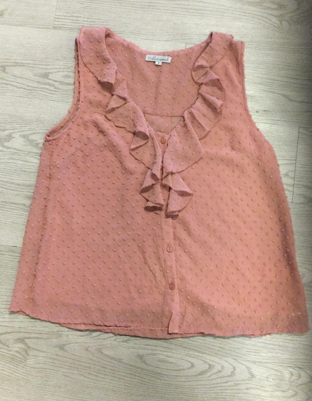 Dusty Rose tank top with lapel and buttons