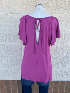 Short Sleeve Knit Top w/ cut out shoulders & back