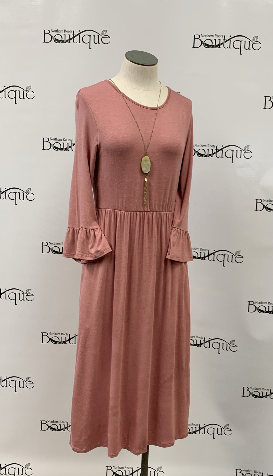 Long Dress with Ruffle Sleeves