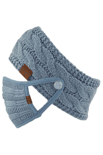 CC Ribbed Knit Kids Mask w filter pocket