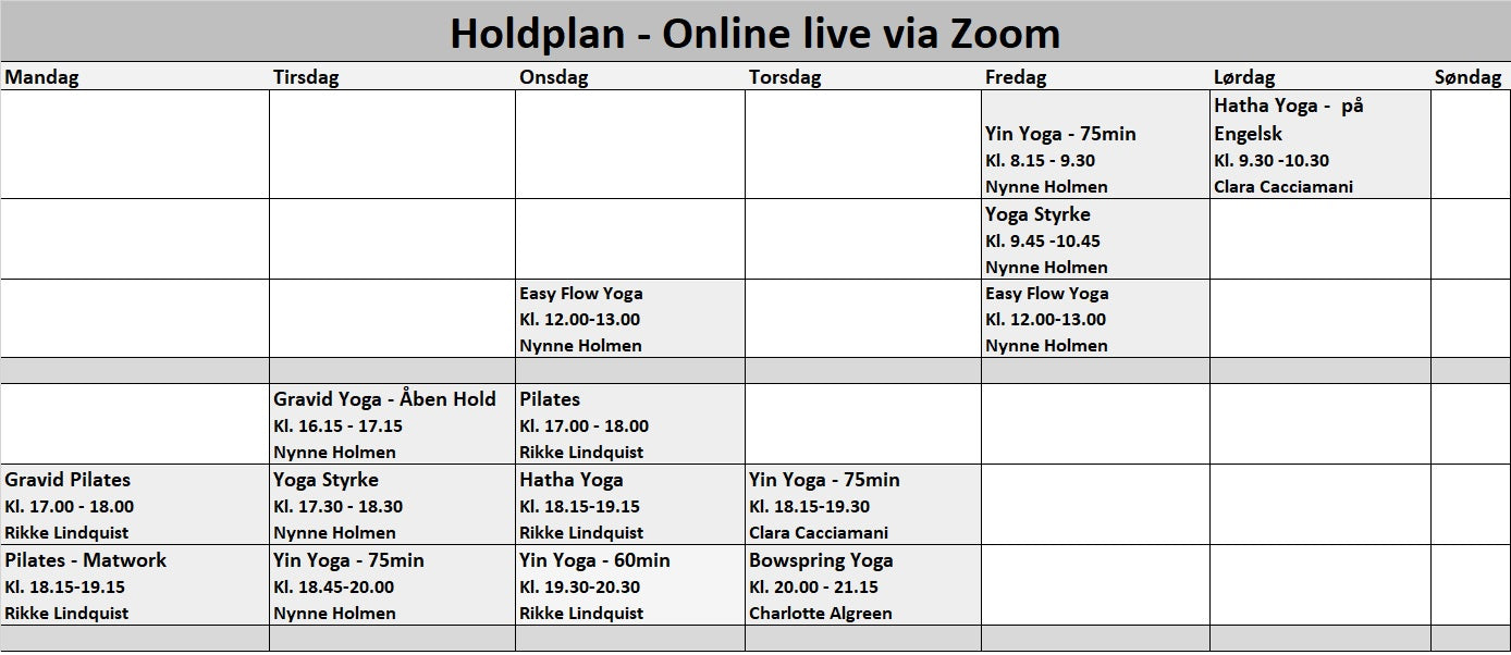 Holdplan yoga pilates