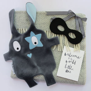 Sibling pack of grey + blue The Doudoods star style baby comforter with black bandit dress up mask and welcome to the world card