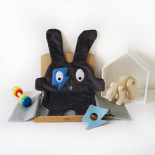 The Doudoods grey + blue flash style baby comforter with blue flash style eye patch as part of sibling pack