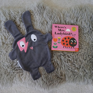 The Doudoods grey + pink flash style baby comforter on grey fur with ladybug book