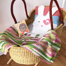 The Doudoods white + pink heart style baby comforter in mosses basket with crochet blanket and music mobile