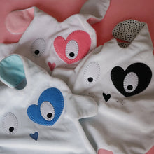 Bundle of the three different colour versions of The Doudoods heart style baby comforters