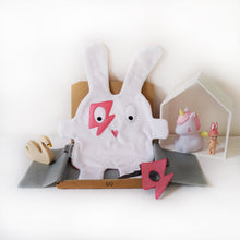 The Doudoods white + pink flash style baby comforter with pink flash style eye patch as sibling pack