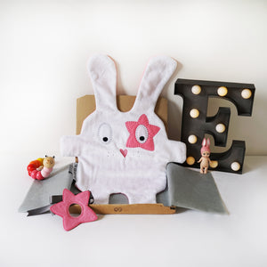 The Doudoods grey + pink star style baby comforter with pink star style eye patch as featured in sibling pack