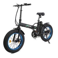 Ecotric Fat Tire Portable and Folding Electric Bike-Matt Black and blue