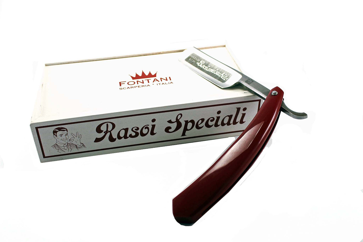 Fontani Italian Handmade Straight Razor with Resin Handle (red)