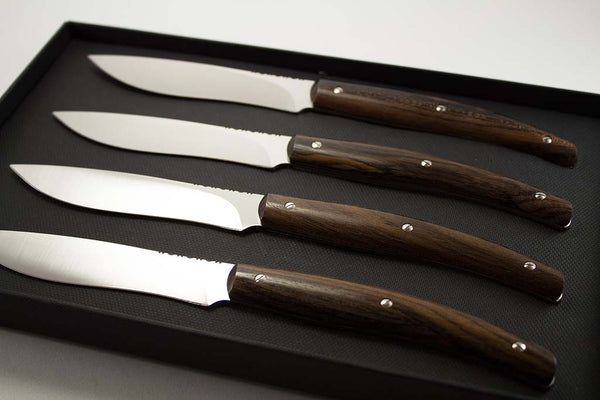 Italian Handmade Fiorentina Steak Knives with Zircote Wood Handles (set of 4)