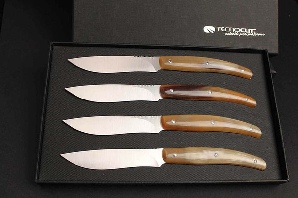 Italian Handmade Steak Knives with Sculpted Ox Horn Handles: Costata Series (set of 4)