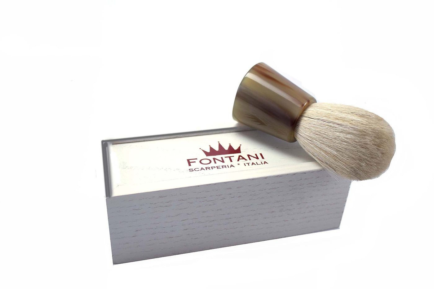 Italian Shaving Brush of Light Colored Horse Hair with Ox Horn Handle