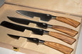 Saladini 4-Piece Kitchen Knife Set with Sculpted Olive Wood Handles
