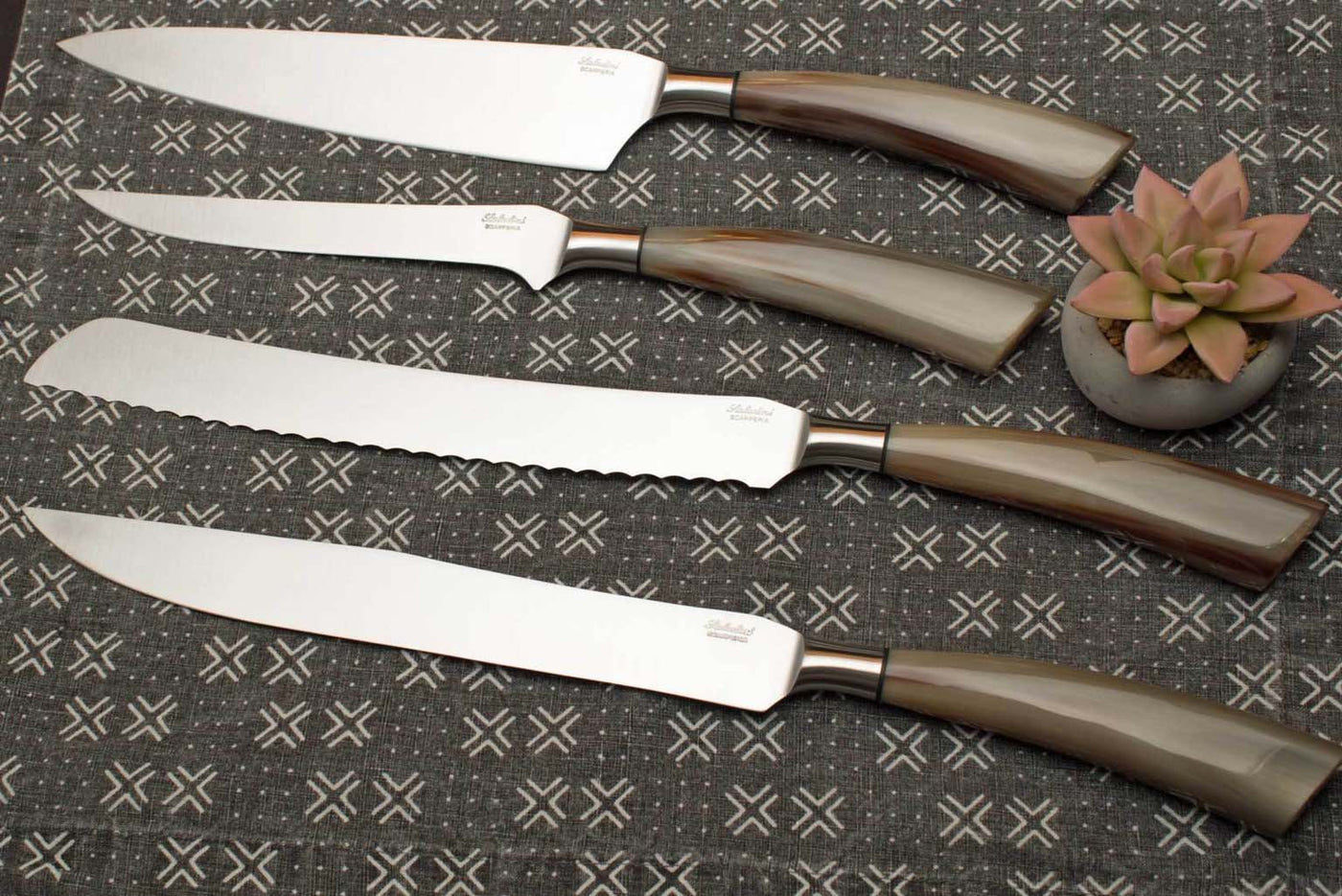 Saladini 4-Piece Kitchen Knife Set with Sculpted Ox Horn Handles