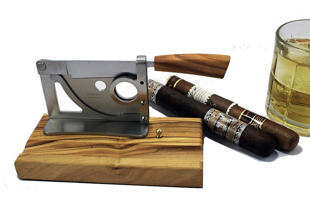 Saladini Handmade Italian Table-top Cigar Cutter with Olive Wood Base