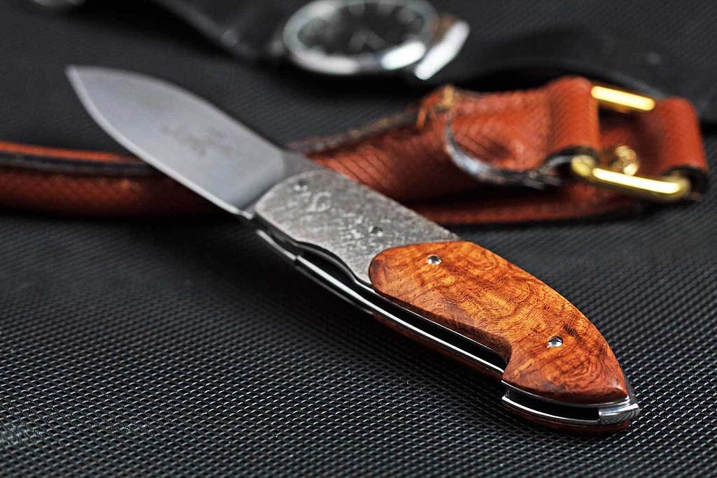 Timeless Amboina Wood Burl Italian Gentlemans Pocket Knife with Hammered Titanium Bolster