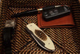 Timeless Gentleman's Pocket Knife with Woodcock Feather in Resin