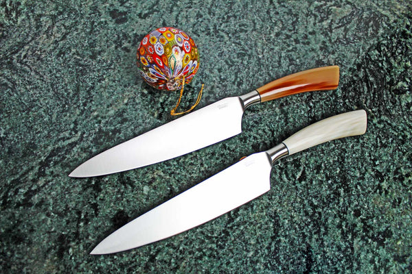 "Saladini Cutlery Handmade Forged Tempered Chef Knife with 8"" Blade and Ox Horn Handle"