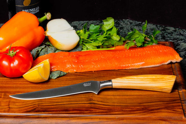 Saladini Italian Boning Knife with Sculpted Olive Wood Handle, [product_vendor} - The Italian Knife Maker