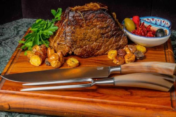 Saladini Italian Meat Carving Knife and Fork Set with  Sculpted Ox Horn Handles, Kitchen, Coltelleria Saladini - The Italian Knife Maker