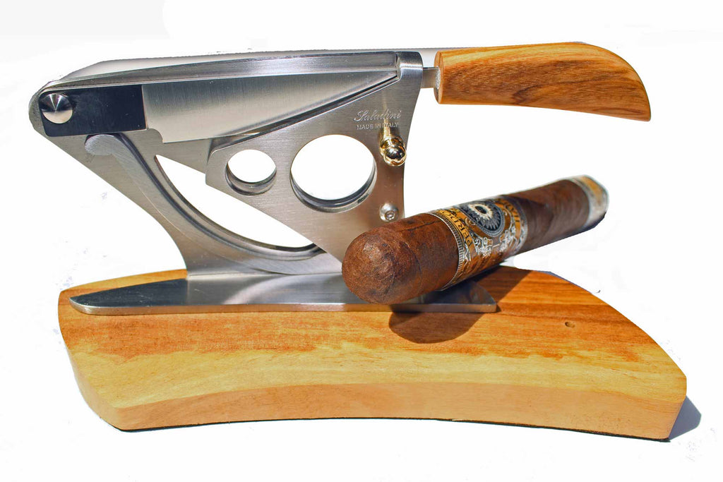 Saladini Handmade Italian Tabletop Cigar Cutter Winged Design with Olive Wood Base, , The Italian Knife Maker - The Italian Knife Maker