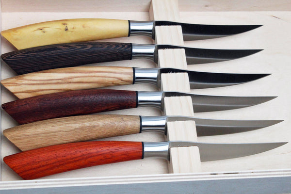 Saladini Classic Steak Knives of Mixed Exotic Woods