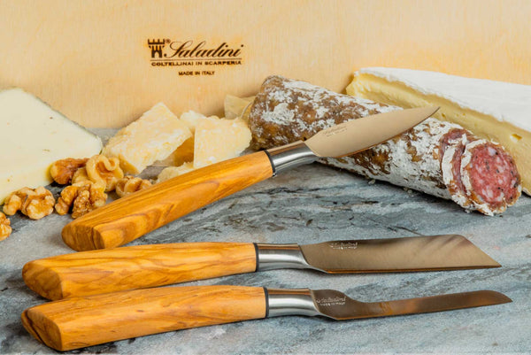 Saladini Handmade Italian 3-piece Cheese Knife Set with Sculpted Olive Wood Handles, [product_vendor} - The Italian Knife Maker