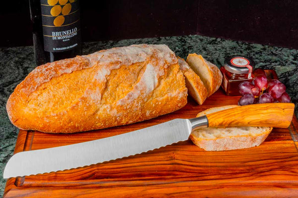 Saladini Italian Bread Knife with Olive Wood Handle