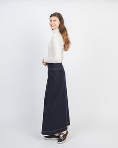 Long denim skirt on Model from NewCreation Apparel