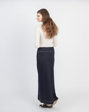 Long denim skirt back view on Model from NewCreation Apparel