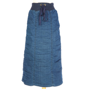 Long Ruched Denim Skirt