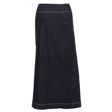 Back of the NewCreationApparel's Classic Long Denim A-Line Skirt
